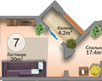 Апартамент 46.2 кв. м